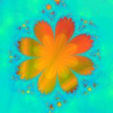 Orange Flower. Computer generated fractal of an orange flower on a soft focus flowered green background stock illustration