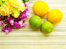 Orange & flower background. With green stripes Background Royalty Free Stock Photo