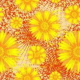 Orange flower background. Vector illustration seamless yellow and orange background with abstract flowers for print on textile or paper Royalty Free Stock Photos