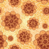 Orange flower background. Vector illustration seamless yellow and orange background with abstract flowers for print on textile or paper Stock Image