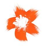 Orange flower brush paint Stock Photo