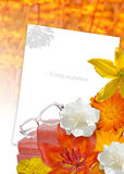 Orange flower card. Education card. Collage of education items and flowers Royalty Free Stock Image