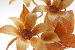 Orange flower decoration. Beautiful Flower decoration isolated on pure white background stock images