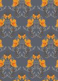 Orange flower grey seamless pattern vector floral design primitive scandinavian vector illustration