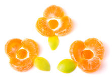 Orange flower of orange slices with green leaves. Isolated on white background Stock Images