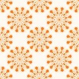 Orange flower pattern. Pattern with beautiful orange mandala flowers Royalty Free Stock Photography