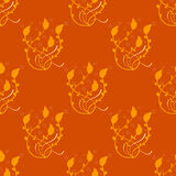 Orange flower pattern, seamless pattern. Vector illustration Stock Photo