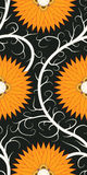 Orange flower seamless pattern. On dark background Stock Photo