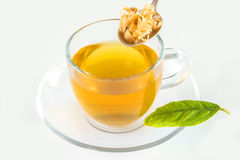 Orange flower tea with dried flowers Stock Photo