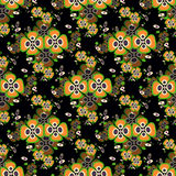 Orange flowers on a black background seamless pattern Royalty Free Stock Photography