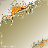 Orange flowers with dark green swirls Stock Images