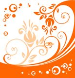 Orange flowers pattern Stock Photo
