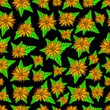 Orange flowers and plants seamless texture. Floral colorful fantasy ornament. Original vector flowers art pattern. stock illustration