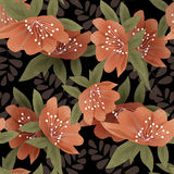 Orange flowers retro abstract seamless pattern on black backgrou Royalty Free Stock Image