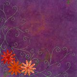 Orange flowers with swirls. Orange flowers with green swirls on purple background Stock Photography