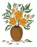 Orange Flowers in a Vase Stock Images