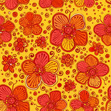 Orange flowers vector doodles seamless pattern Stock Images