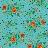 Orange flowers with willow branches on a turquoise background vector illustration
