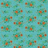 Orange flowers with willow branches on a turquoise background royalty free illustration