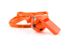 Orange flute in shape of soccer ball Royalty Free Stock Photos