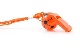 Orange flute in shape of soccer ball. Isolated on white background Royalty Free Stock Images