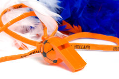 Orange flute in shape of soccer ball. With accessories for Dutch game Royalty Free Stock Images