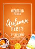 Orange flyer for autumn party Royalty Free Stock Photo