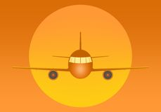 Orange flying airliner with engines and windows from the front with a large yellow sun in the back on an orange background. Air tr Royalty Free Stock Photography
