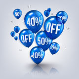 Orange flying party balloons with text SALE and Stock Image