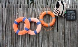 Orange foam rings Stock Photos