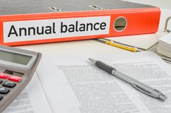Orange folder with the label Annual balance Royalty Free Stock Photography