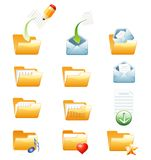 Orange folderos. Vector icons for folders and files Royalty Free Stock Photography