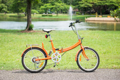 Orange folding bicycles in park Stock Images