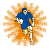 Orange fonctionnante de joueur de rugby Photographie stock libre de droits