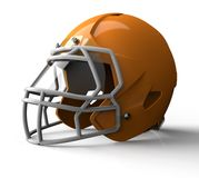 Orange football helmet isolated on white background Royalty Free Stock Photography