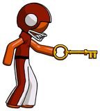 Orange Football Player Man with big key of gold opening somethin. G - Toon Rendered 3d Illustration Stock Images