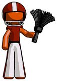 Orange Football Player Man Holding Feather Duster Facing Forward. Toon Rendered 3d Illustration Royalty Free Stock Image
