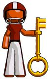 Orange Football Player Man holding key made of gold. Toon Rendered 3d Illustration Royalty Free Stock Images