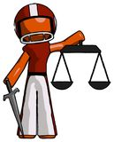 Orange Football Player Man justice concept with scales and sword. Justicia derived - Toon Rendered 3d Illustration Royalty Free Stock Image
