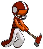 Orange Football Player Man striking with a red firefighter`s ax. Toon Rendered 3d Illustration Stock Photos