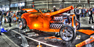 Orange 1932 Ford Deuce hot rod on display Royalty Free Stock Photos