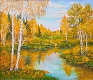 Orange forest near lake in sunny day. Landscape, pine and birch trees, green grass on the shore of a river. Russia. Original oil painting on a canvas. Author s stock photography
