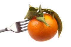 Orange on a fork Stock Images