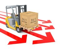 Orange Forklift of Around the 7/24 Delivery. 3D Rendering Image Stock Images