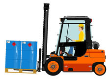 Orange forklift Royalty Free Stock Photos