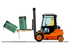 Orange forklift Stock Image