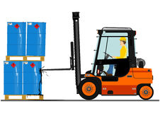 Orange forklift Royalty Free Stock Image