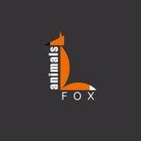 Orange Fox, animal logo, zoo background. Orange Fox in the figure letter L, animal logo, zoo background Royalty Free Stock Photos