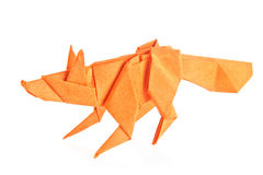 Orange fox of origami. Stock Image