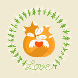 Orange fox. Romantic card with loving couple of foxes. Stock Photography